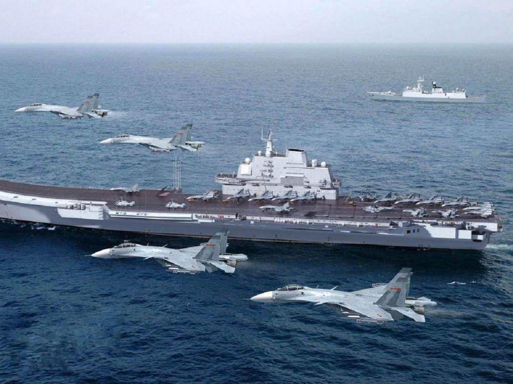 El portaaviones chino Liaoning realiza simulacros por primera en el Pacífico. Texto2