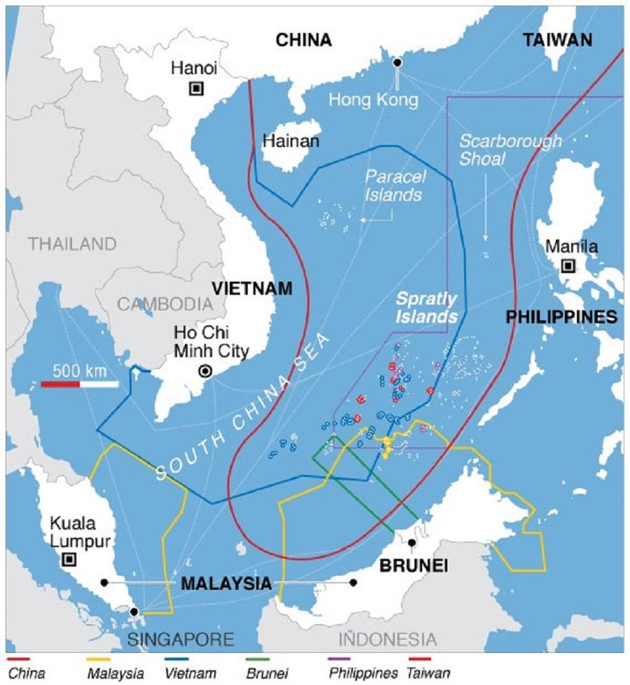 Movimientos militares, tendencias a la guerra imperialista mundial. - Página 26 South_China_Sea_claims_map